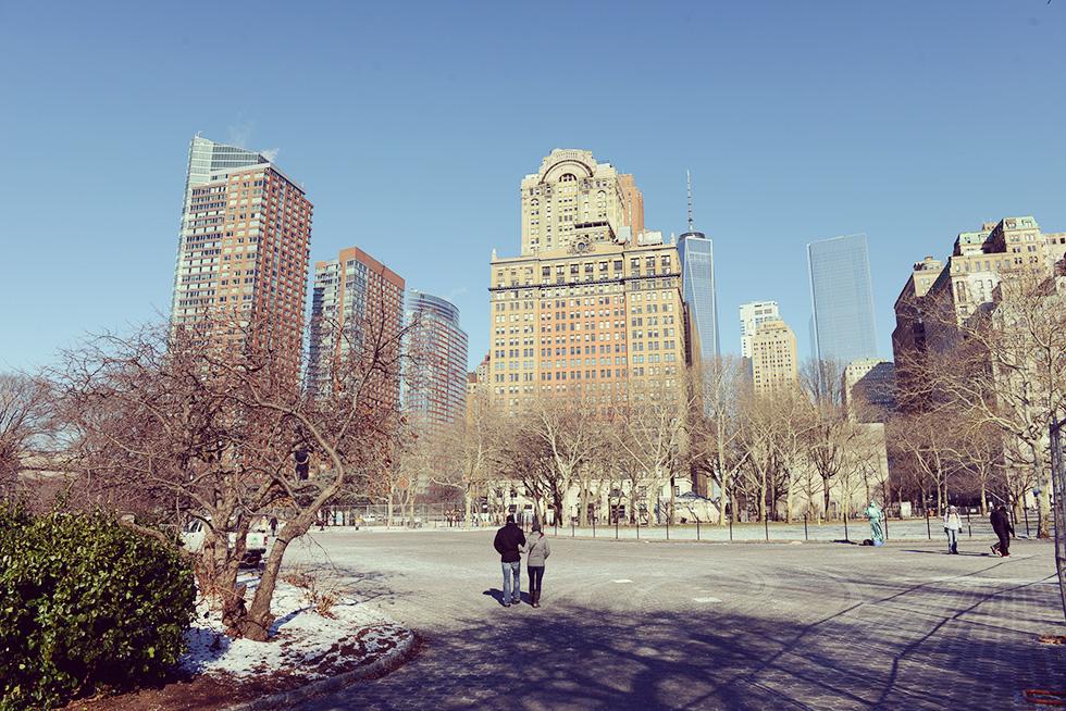 1月のマンハッタン最南端の公園...