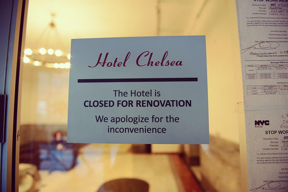 ホテル・チェルシーは現在リノベーションに向けて閉鎖中