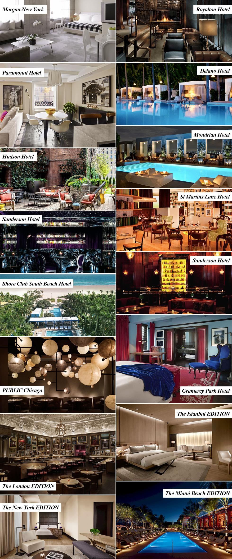 イアン・シュレーガーがプロデュースしてきたブティックホテル一覧