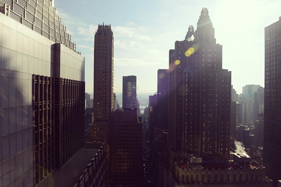 日中の窓から見える景色