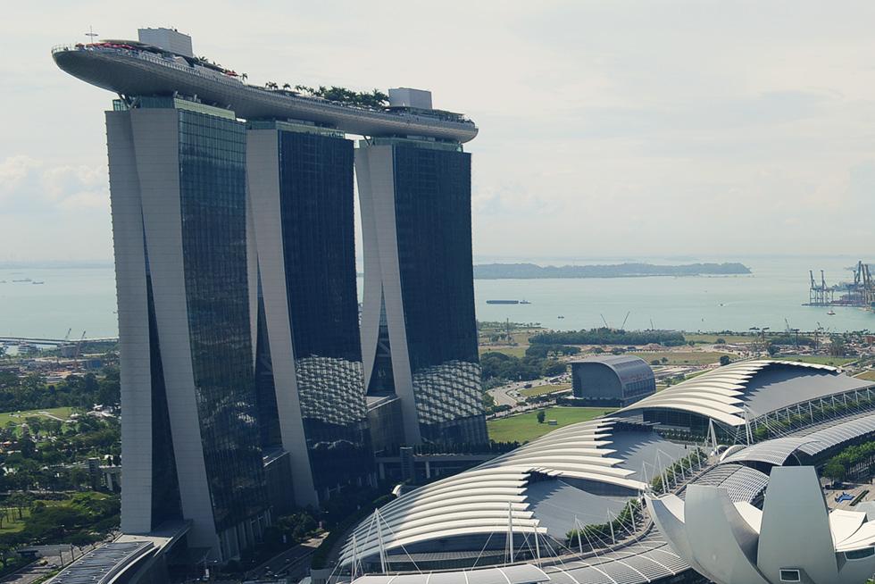 リッツカールトンホテルから見たマリーナベイ サンズ(Marina Bay Sands)