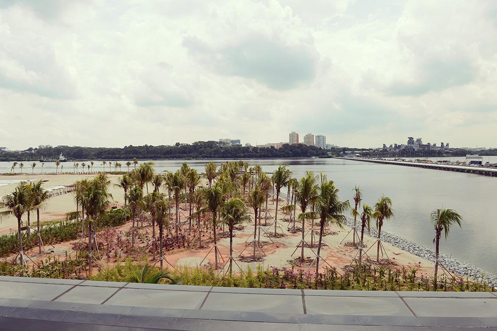 ジョホール・バルのマンション販売会場から見たシンガポールの景色